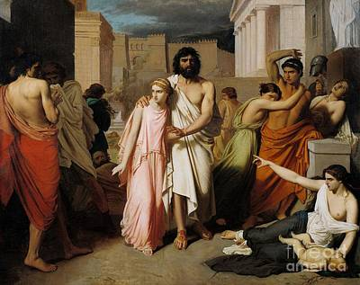 Oedipus And Antigone Or The Plague Of Thebes  Art Print by Charles Francois Jalabert