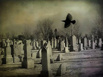 Ravens In Graveyard Photograph - Of A Gothic Nature by Gothicrow Images