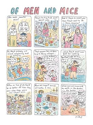 Pressure Drawing - Of Men And Mice by Roz Chast
