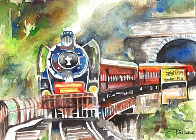 Drawing - Of Steams And Tunnels Was My Childhood by Parag Pendharkar