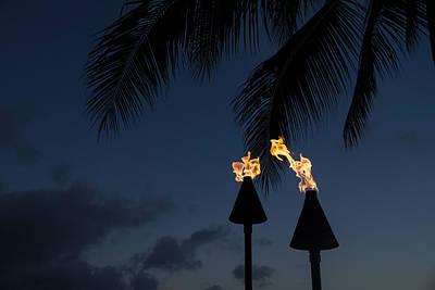 Gas Lamp Photograph - Of Tiki Torches Palm Trees And Beach Parties by Georgia Mizuleva