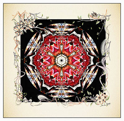 Interior Decoration Mixed Media - Of Wine And Roses Vintage Mandala Design by Georgiana Romanovna