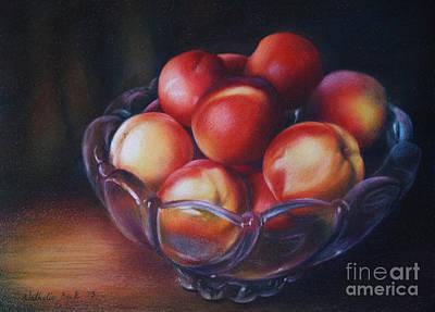 Off Center Peaches Original by Nathalie Beck