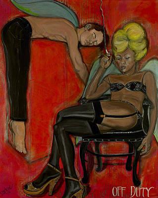 Angels Smoking Painting - Off Duty by Darlene Graeser