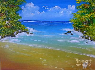 Jamaican Painting - Off For A Swim by Collin A Clarke