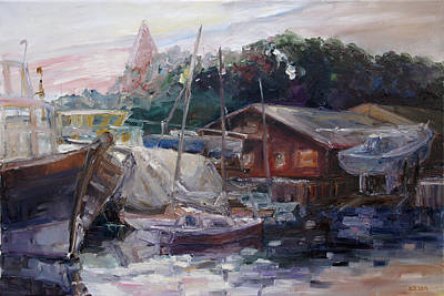 Painting - Off Hours At The Ship Yard In Kirchdorf Island Poel by Barbara Pommerenke