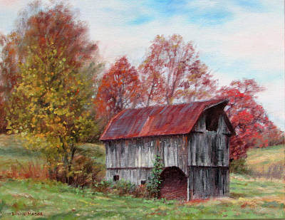 Farm Scene Painting - Off The Beaten Track-old Barn With Red Roof by Bonnie Mason