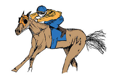 Racetrack Mixed Media - Off To The Races by Dan  Orapello