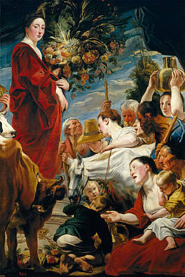 Goddess Mythology Painting - Offering To Ceres Goddess Of Harvest by Jacob Jordaens