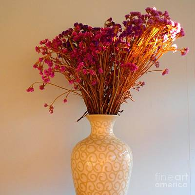 Priska Wettstein Pink Hues Royalty Free Images - Office After-Hours - Vase with Purple and Orange Dried Flowers Royalty-Free Image by Miriam Danar