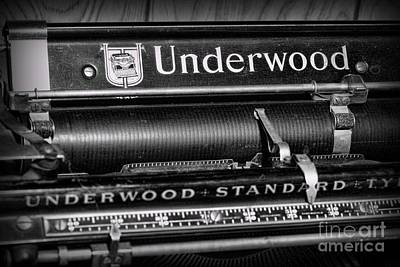 Underwood Typewriter Photograph - Office - Antique Typewriter by Paul Ward