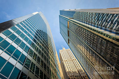 Chicago Photograph - Office Buildings Upward View In Downtown Chicago by Paul Velgos