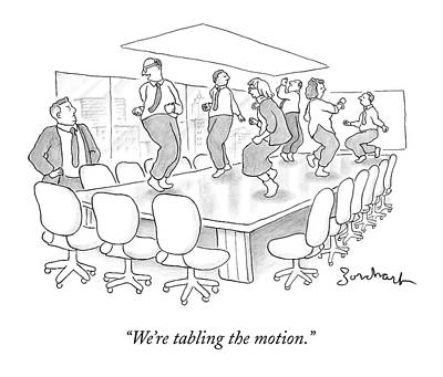 Boardroom Drawing - Office Employees Dance On A Boardroom Table by David Borchart