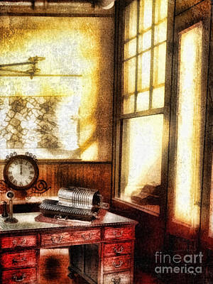 Clock Mixed Media - Office by Mo T