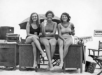 One Piece Swimsuit Photograph - Office Moves To The Beach by Underwood Archives