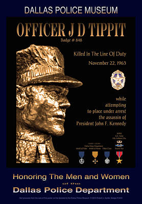 Officer J D Tippit Memorial Poster Art Print by Robert J Sadler