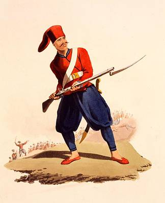 Officer Of European Infantry Of Ottoman Art Print by Thomas Charles Wageman