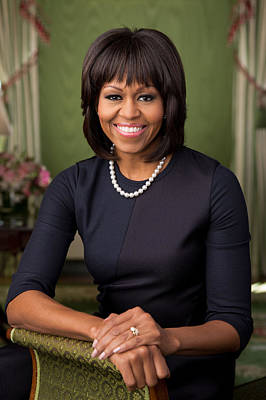 Official Portrait Of First Lady Michelle Obama Print by Celestial Images