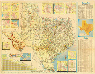 Texas Drawing - Official Texas Travel Map 1956 by Mountain Dreams