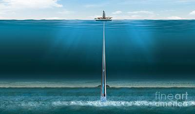 Offshore Gas Extraction, Artwork Art Print