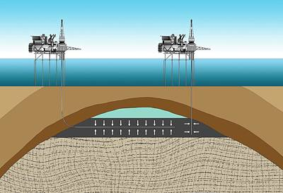 Offshore Oil Drilling Art Print by Mikkel Juul Jensen