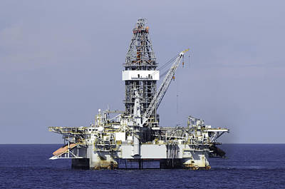 Photograph - Offshore Oil Rig In Blue Ocean by Bradford Martin