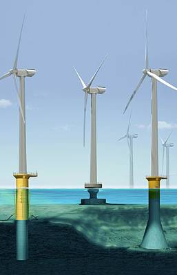 Offshore Wind Farm Art Print by Claus Lunau/science Photo Library