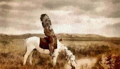 Great Mixed Media - Ogala Indian Man On Horse by Dan Sproul