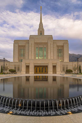 Photograph - Ogden Temple Fountain by Dustin  LeFevre