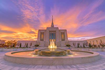 Photograph - Ogden Temple Sunset by Dustin  LeFevre