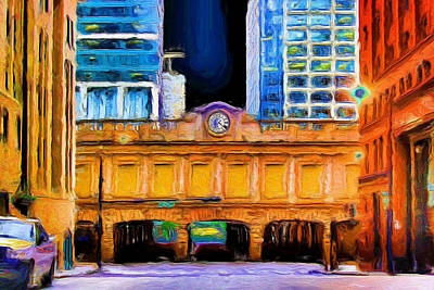 Painting - Ogilvie Transportation Center Clock by Ely Arsha