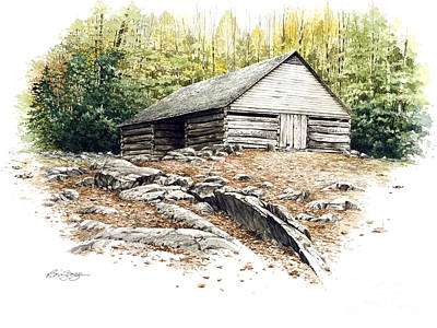 Art Print featuring the painting Ogle Barn - 1880 by Bob  George