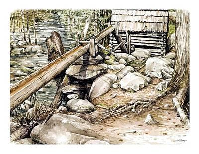 Ogle Grist Mill Art Print by Bob  George