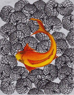 Ogon- Koi Fish Art Print by Anca S