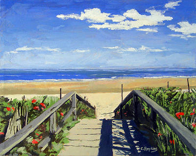 Nubble Lighthouse Painting - Ogunquit Beach Walkway Ogunquit Maine by Christine Hopkins