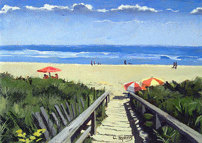 Maine Painting - Ogunquit Footbridge Beach Ogunquit Maine by Christine Hopkins