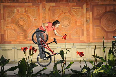 Photograph - Oh A Pretty Flower - Funny Bmx Flatland Pic With Monika Hinz by Matthias Hauser