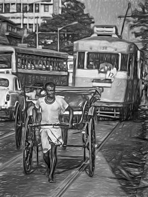 Traffic Congestion Photograph - Oh Calcutta - Paint Bw by Steve Harrington
