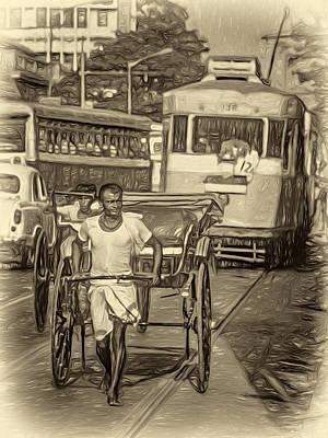 Traffic Congestion Photograph - Oh Calcutta - Paint Sepia by Steve Harrington