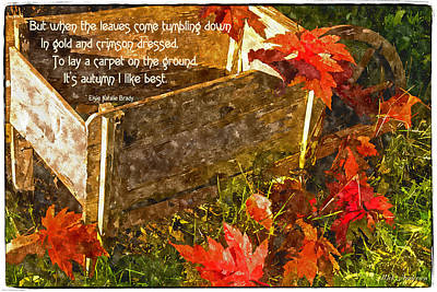 Photograph - Oh How I Love Autumn With Poetry by Mick Anderson