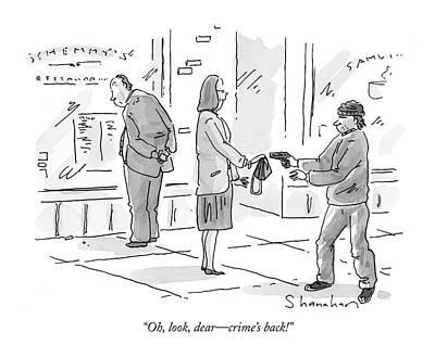 Oh, Look, Dear - Crime's Back! Art Print by Danny Shanahan