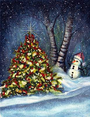 Winter Night Painting - Oh My. A Christmas Tree by Janine Riley