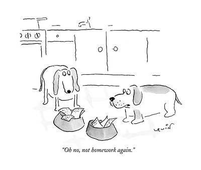 Basset Drawing - Oh No, Not Homework Again by Arnie Levin
