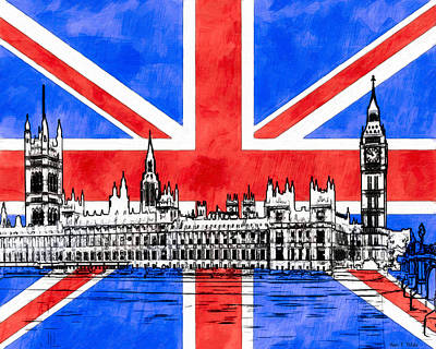 Digital Art - Oh So British - Union Jack And Westminster by Mark E Tisdale