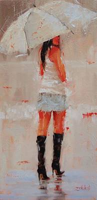 Woman With Black Hair Painting - Oh Those Boots by Laura Lee Zanghetti