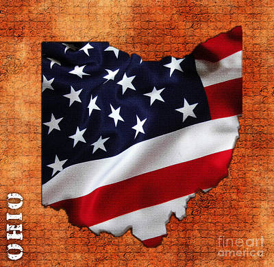 Map Art Mixed Media - Ohio American Flag State Map by Marvin Blaine