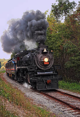 Steam Engine Photograph - Ohio Central #1293 Steam by Marcia Colelli
