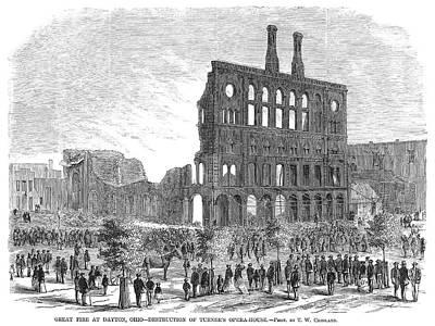 Ohio Painting - Ohio Dayton, Fire, 1869 by Granger