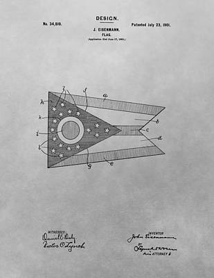 Columbus Drawing - Ohio Flag Patent Drawing by Dan Sproul