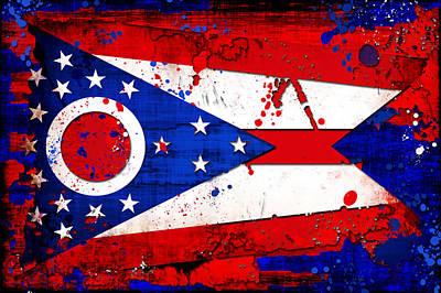 Splatter Digital Art - Ohio Grunge And Splatter Flag by David G Paul
